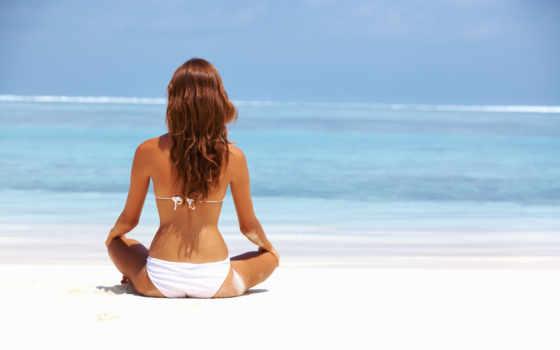 девушка, море, смотрит, devushki, пляж, пляже, голубое, сидит,