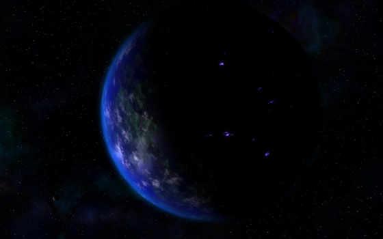 land, широкоформатные, планетой, ночная, планеты, side, ночь, красивые,