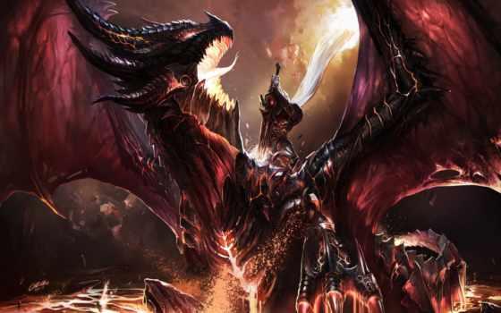 warcraft, wow, world, дракон, chenbo, fanart, kill, битва, art, deathwing,
