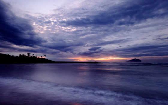 небо, фиолетовое, oblaka