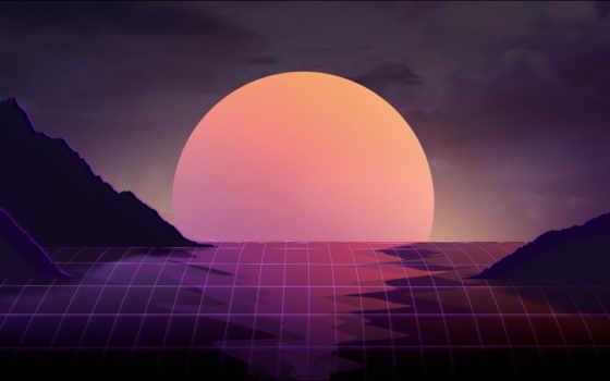 vaporwave, art, закат