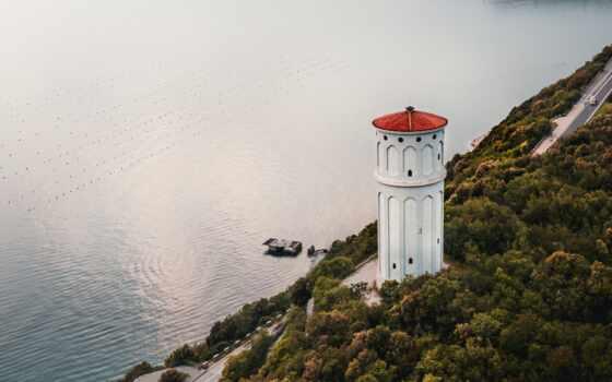 lighthouse, white, во, дневной, браун, море, близко, red, природа, water, тело