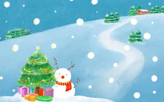 новый, год, снеговик, праздник, снег, зима, елка, рисунок, дорога, елочные, дом, ёль, украшения, шарф, подарки,