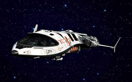 корабль, космический, звезды
