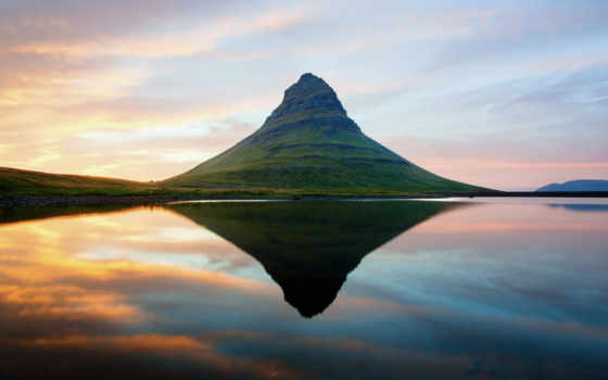 скандинавия, гора, потухший, kirkjufell, вулкан, iceland, графика,
