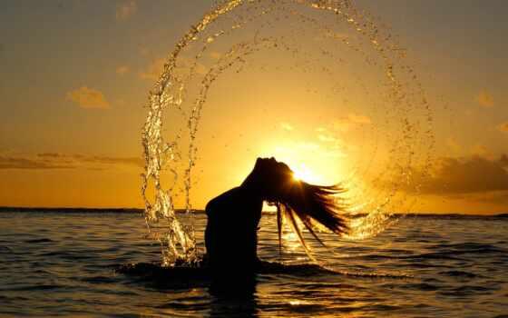 девушка, море, закат Фон № 80064 разрешение 2560x1600
