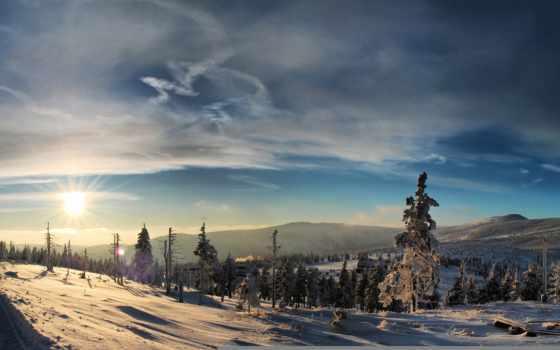 закат, снег, winter, вечер, сказ, зимняя, afternoon,