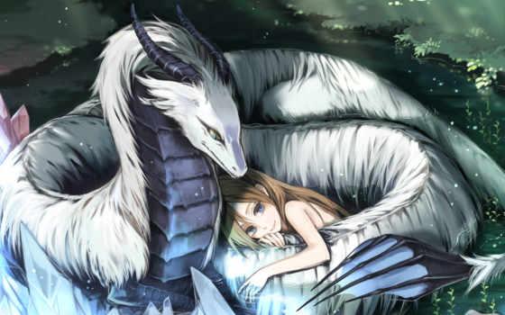 дракон, white, anime