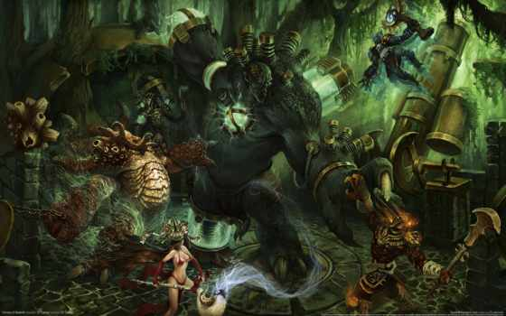 heroes, newerth, игры, war, чудовища, маги, девушка, tubing, лес, game,