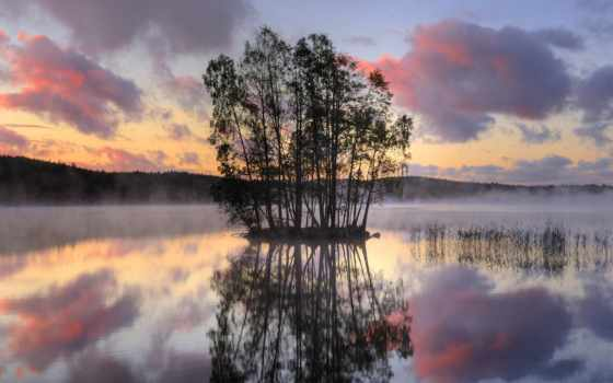 озеро, остров, middle