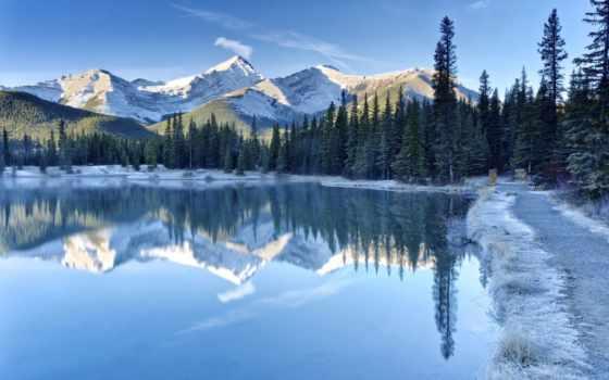 снег, канада, озеро, winter, mountains, лес, kananaskis, альберта, landscape, небо,