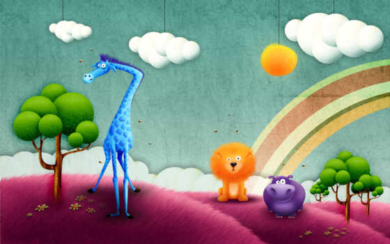 рисунок, жираф, lion, рисунки, поле, добавлено, обоях, behemoth, лет, радуга,