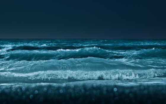 моря, ночного, waves, ocean, море, ночное,