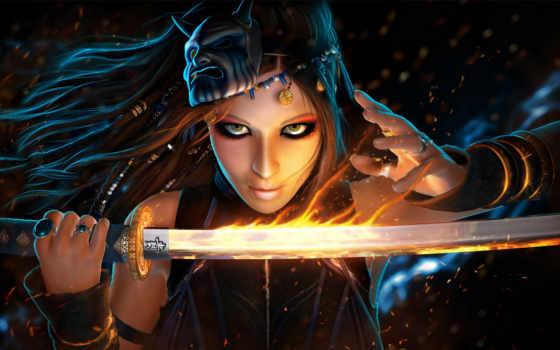 fantasy, воин, женщина, art, глаза, искры, women, оружие, комната, книги,