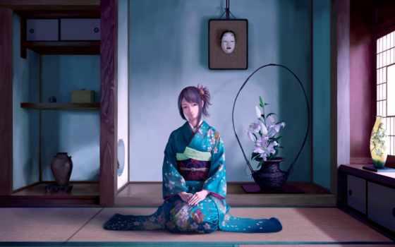 anime, кимоно, девушка
