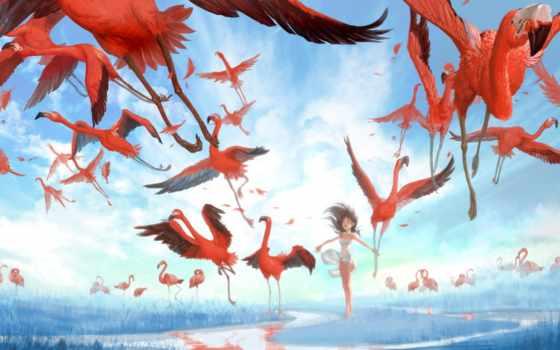 фламинго, алиса, returns, madness, птицы, art, графика, игры,