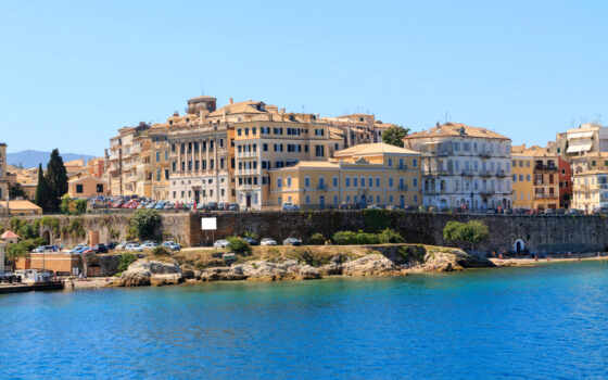 build, включить, corfu, house, картинка, город, побережье, greece, тег