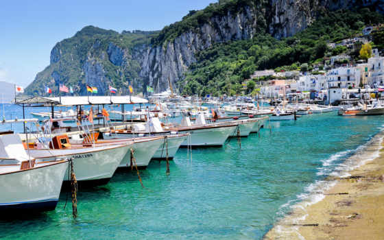 italy, capri, sea, boat, island, капри, берег, beach, desktop,