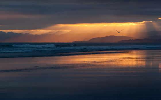 природа, закат, пляж