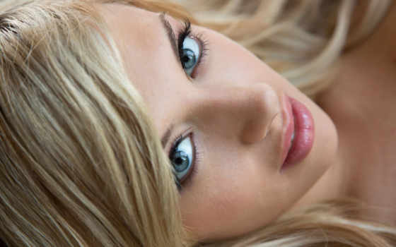 девушка, blonde, browse, голубоглазая, лицо, смотреть,