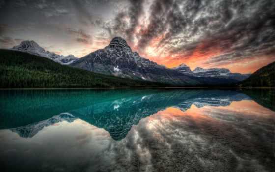 перистые, oblaka, озера, берега, природа, пейзажи -, глади, водной, страница, озеро, дизайна,