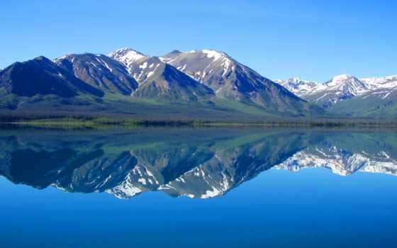 природа, горы, озеро, nhiên, landscape, thiên, yukon, лес, ком, отражение,
