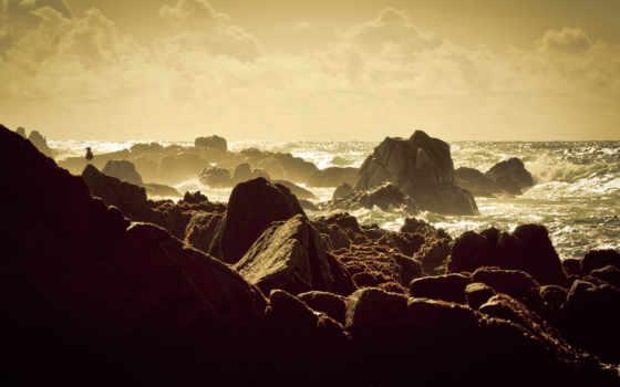 rocas, мар, paisaje, atardecer, costa, pájaros, olas, oceano, nubes,