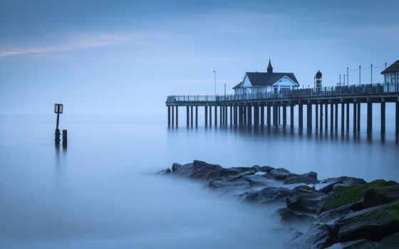 pier, море, берег, камни, спокойствие, ук, великобритания, water, гладь,