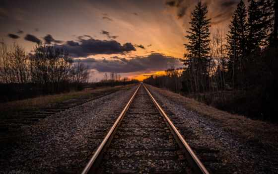 dark, дорога, дерево, закат, rail, железная, фон,