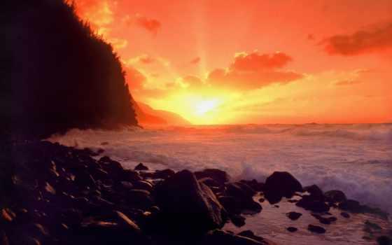 рассвет, закат, фото, побережье