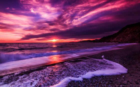 закат, море, сиреневый, пляж, ocean