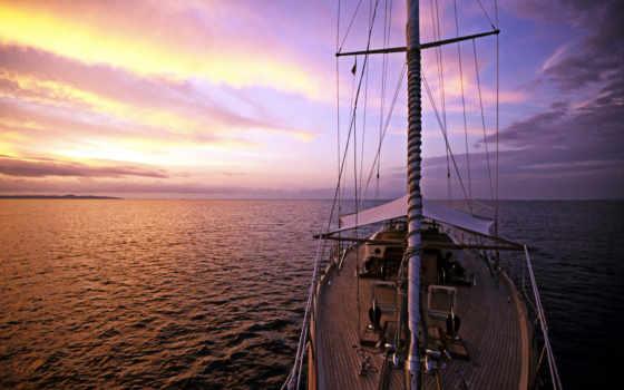 яхтами, море, природа