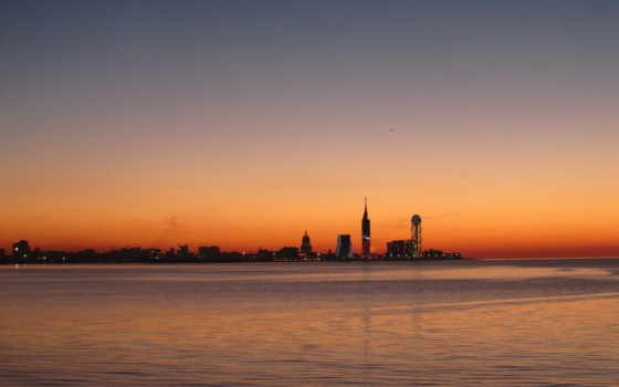 батуми, море, город, закат, вечер, красиво, осень, июня,
