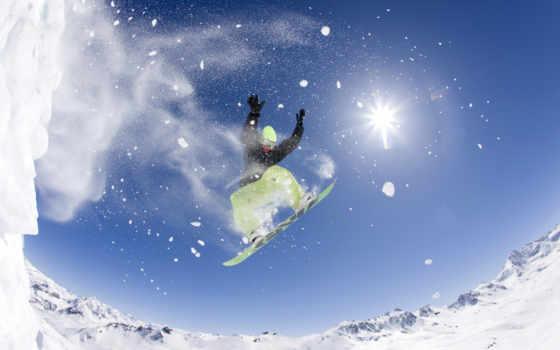 fisheye, сноуборд, прыжок