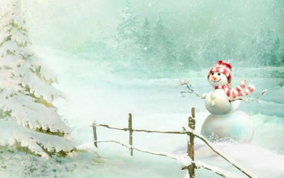 снег, снегопад, снеговик