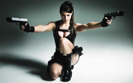 девушка, оружием, оружие, devushki, техника, военная, девушек, нарезное, croft, лара,