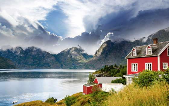 house, красивый, горах, норвегии, дома, озеро, горы, norwegian, высокого, качества, изображение,