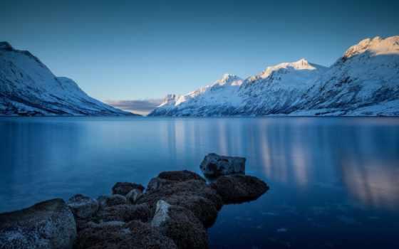 озеро, горы, снег, winter, камни, берег,