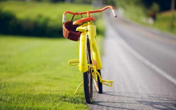 bike, yellow, корзинкой, vintage, обочине, стоит,