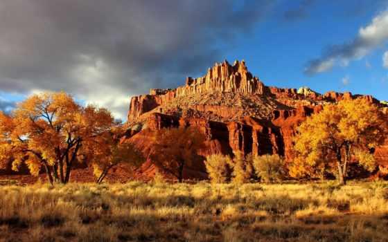 осень, mountains, риф, castle, капитолий, природа, desktop,
