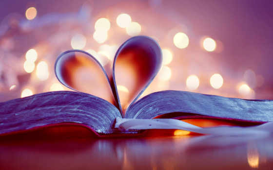 love, книга, боке, страницы, закладка, сердце,