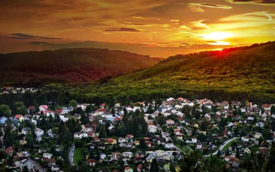 austrian, закат, природа, город, лес, landscape, австрия, houses, рисунки,