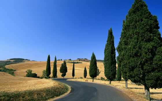 природа, tuscany, italian, небо, trees, горы, oblaka, margin,