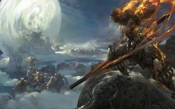 art, fantasy, трон, монстры, оружие, армия, zhong, fenghua, фантастика,