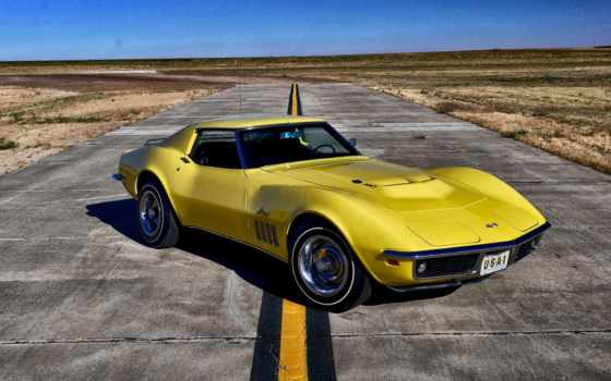 chevrolet, corvette, stingray, yellow, car,