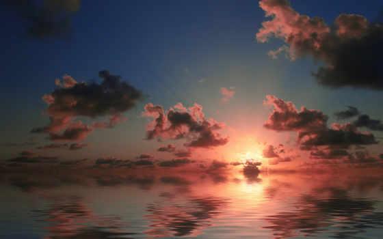 природа, облака, закат