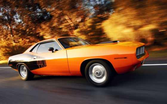 cuda, plymouth, car, muscle, плимут, движении,