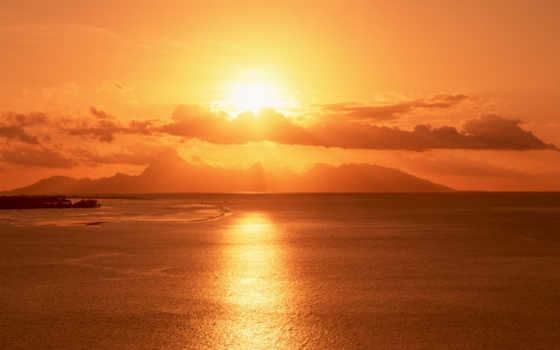 ,закат, море, горы, sun, морем, блики, небо,