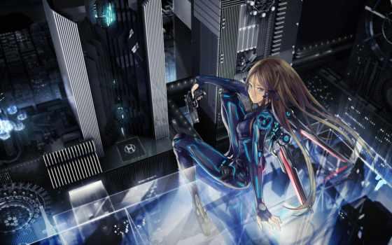 anime, девушка, город, форма, daler, наушниках, ночь, оружие, devushki,