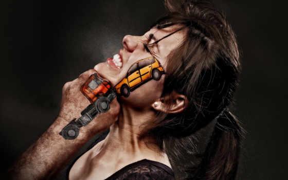 impact, лицо, кулак, машины, подбородок, девушка, столкновение,